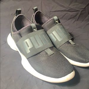 puma black athletic shoes